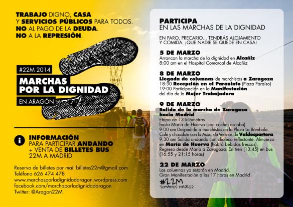 Cartel llegada / salida Marchas 22M Zaragoza
